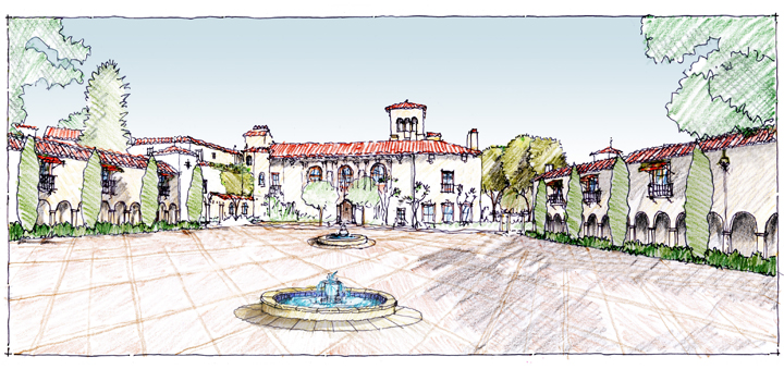 Casa Dorinda Master Plan Project, Plaza Perspective